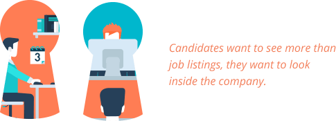 Candidates want to see more than job listings, they want to look inside the company